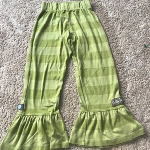 green with lighter green striped flowy pants